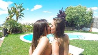 cute lesbian spit kissing
