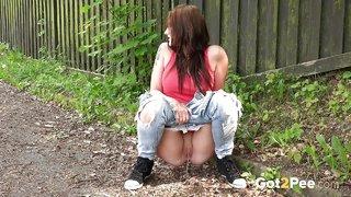 brunette pee jeans
