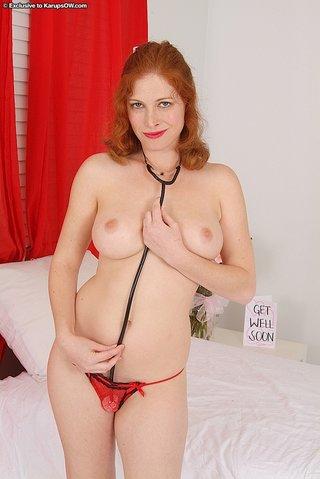 uniform mature mom redhead
