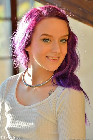 purple hair shaved pussy