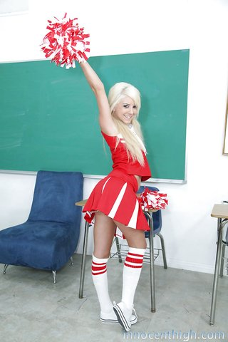 blonde uniform cheerleaders